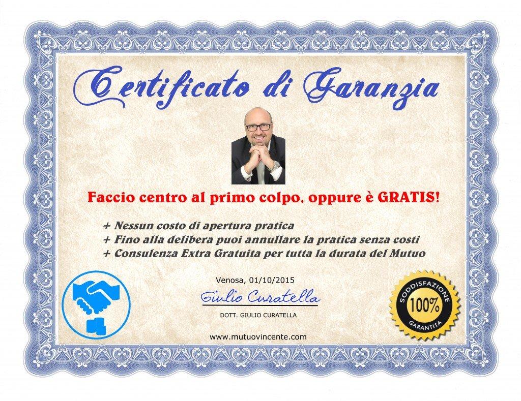 mutuo vincente certificato garanzia